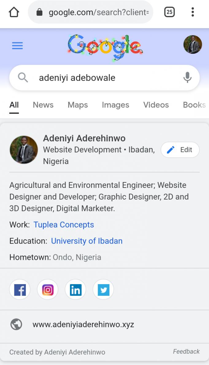 how to be seen on Google Search adeniyi aderehinwo tuplea